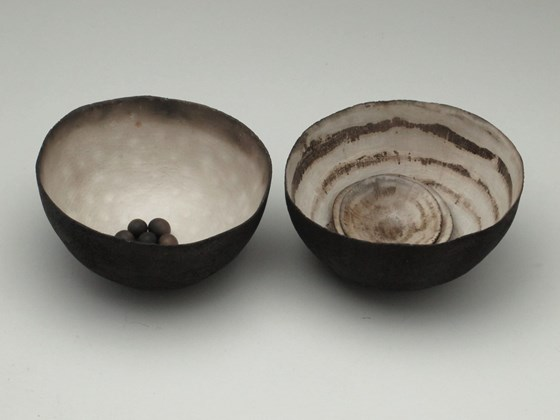 Set Piece; Two Large Vessels Two Small Ceramic Shells and Small Seeds by Karen Banks at the Saffron Walden Gallery