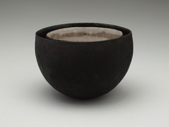 Nest of Two Black Vessels by Karen Banks at the Saffron Walden Gallery