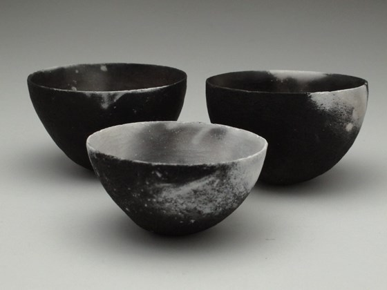 Three Black and White Vessels by Karen Banks at the Saffron Walden Gallery