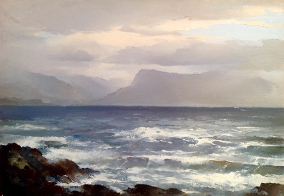 The Hills of Knoydart seen from Ardvasar Isle of Skye by William James Swann at the Saffron Walden Gallery