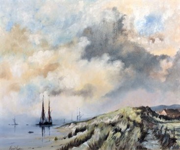 Fishing Village behind the Dunes, Suffolk by Roger Harvey at the Saffron Walden Gallery