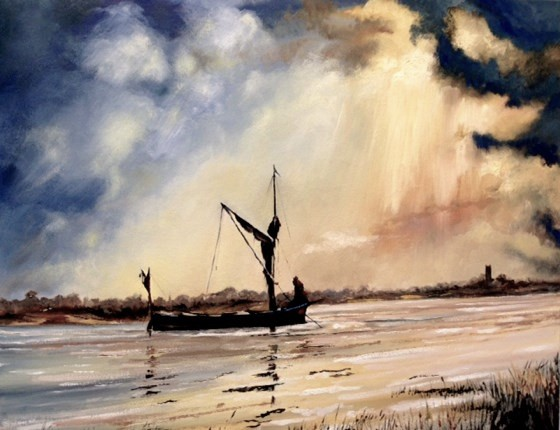 Sunset on the River Blyth, Suffolk by Roger Harvey at the Saffron Walden Gallery
