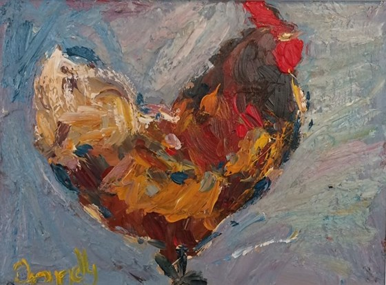 Chicken with a Blue and Grey Background by Deborah Donnelly at the Saffron Walden Gallery