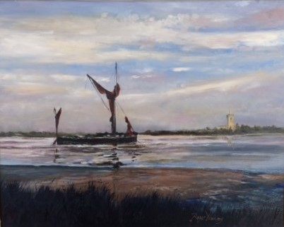 Spritsail Barge Waiting for the Tide on the River Blyth by Roger Harvey at the Saffron Walden Gallery