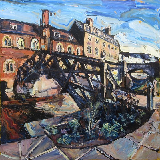 Queens College Cambridge and the Mathematical Bridge over the River Cam by Susan Isaac at the Saffron Walden Gallery