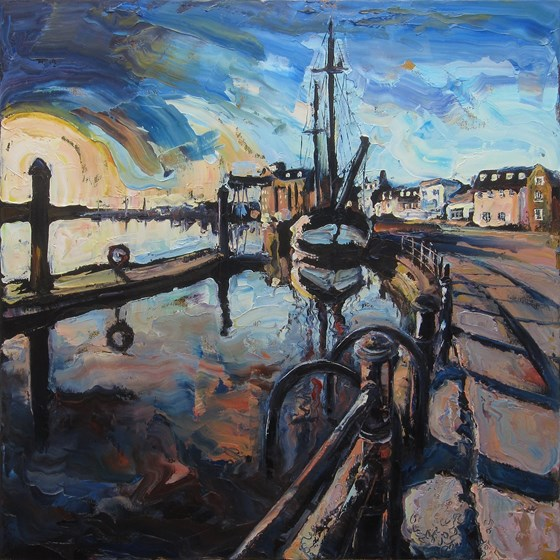 The Harbour at Wells Next-the-Sea by Susan Isaac at the Saffron Walden Gallery