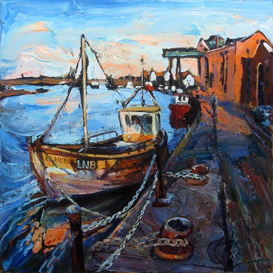 The Quay and Granary at Wells Next-the-Sea by Susan Isaac at the Saffron Walden Gallery