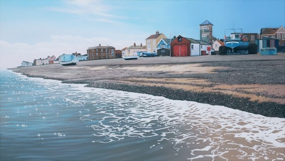 The Lifeboat Station, Aldeburgh Beach by Daniel Hutchings at the Saffron Walden Gallery