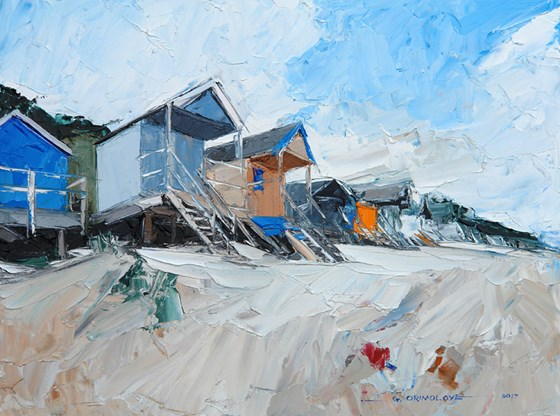 Beach Huts Wells-Next-the-Sea by Daniel Gbenga Orimoloye at the Saffron Walden Gallery