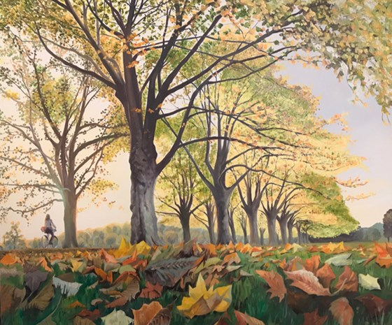 Jesus Green Autumn Leaves by Debbie Baxter at the Saffron Walden Gallery