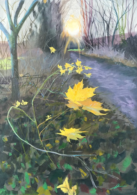Into the Woods Golden Pathway by Debbie Baxter at the Saffron Walden Gallery