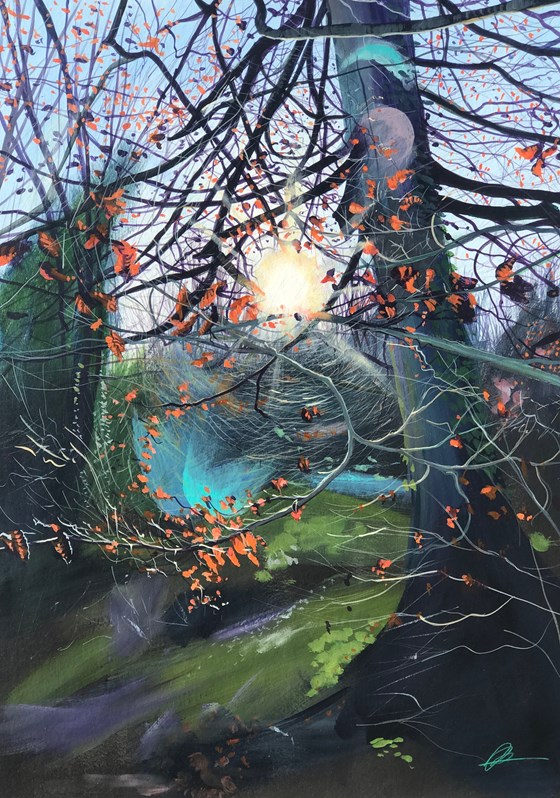 Into the Woods Sunkissed by Debbie Baxter at the Saffron Walden Gallery