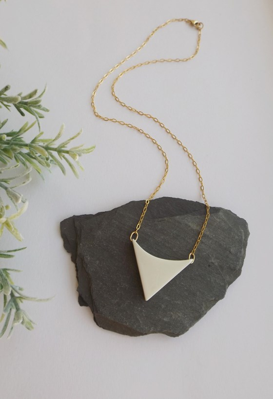 Small Arrowhead Necklace by Kat Foreman at the Saffron Walden Gallery