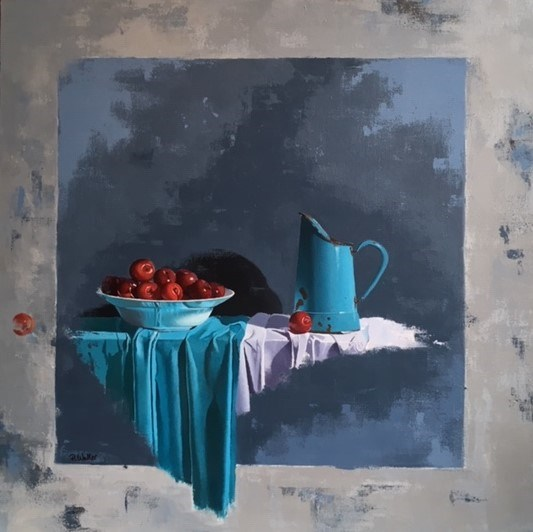 Turquoise and Plums by Robert Walker at the Saffron Walden Gallery