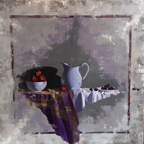 White Jug, Plums and Cherries by Robert Walker at the Saffron Walden Gallery