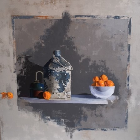 Peeling Paint and Clementines by Robert Walker at the Saffron Walden Gallery