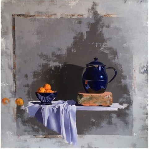 Blue Pots and Clementines by Robert Walker at the Saffron Walden Gallery