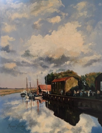 Promenaders at Snape Maltings by Roger Harvey at the Saffron Walden Gallery