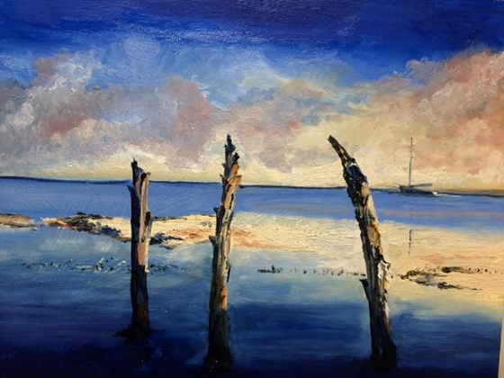 Old Jetty at Thornham by Roger Harvey at the Saffron Walden Gallery