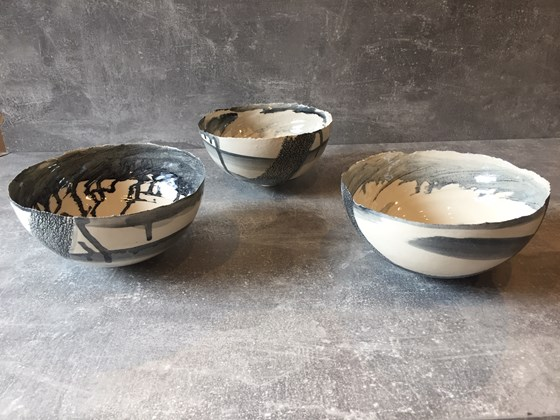 Monochrome Bowls by Tracy Ford at the Saffron Walden Gallery