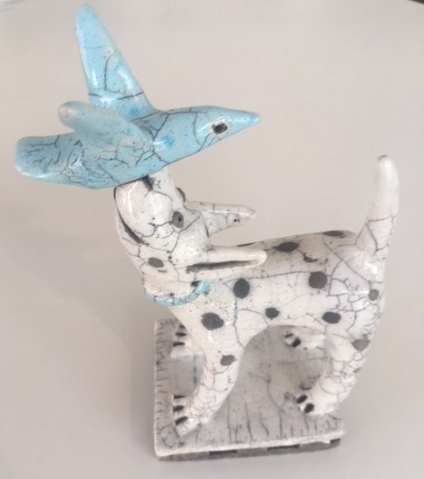 Dog and a Blue Bird by Demelza Whitley at the Saffron Walden Gallery
