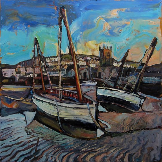 Boats at Low Tide St. Ives by Susan Isaac at the Saffron Walden Gallery