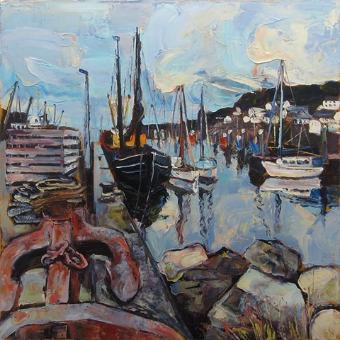 Quayside Newlyn Harbour by Susan Isaac at the Saffron Walden Gallery